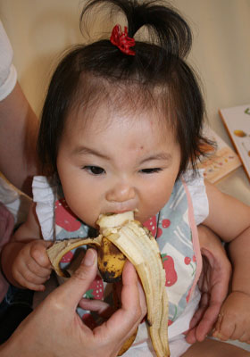 バナナで腹ごしらえ