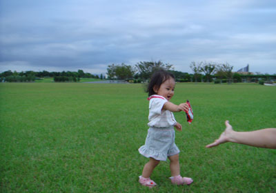 芝生の上を走る